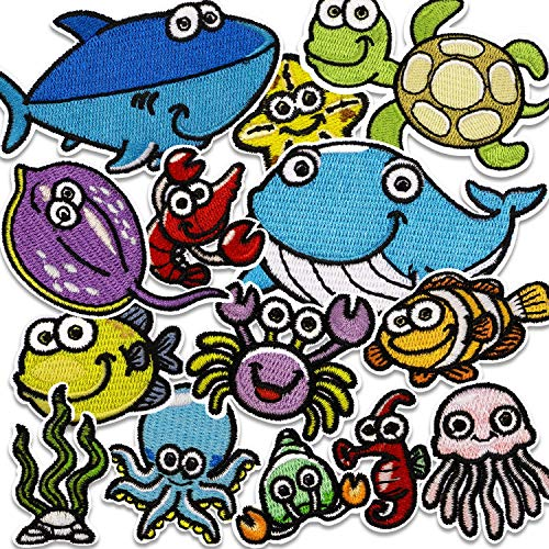 (Assorted 14pcs Marine Creatures Iron on Patches Crayfish Crab Whale Sea Turtle Shark Whale Dolphin Clams Shell Crabs Seahorses Starfish Manta Ray Octopus Embroidered Patches Appliques Decorati)