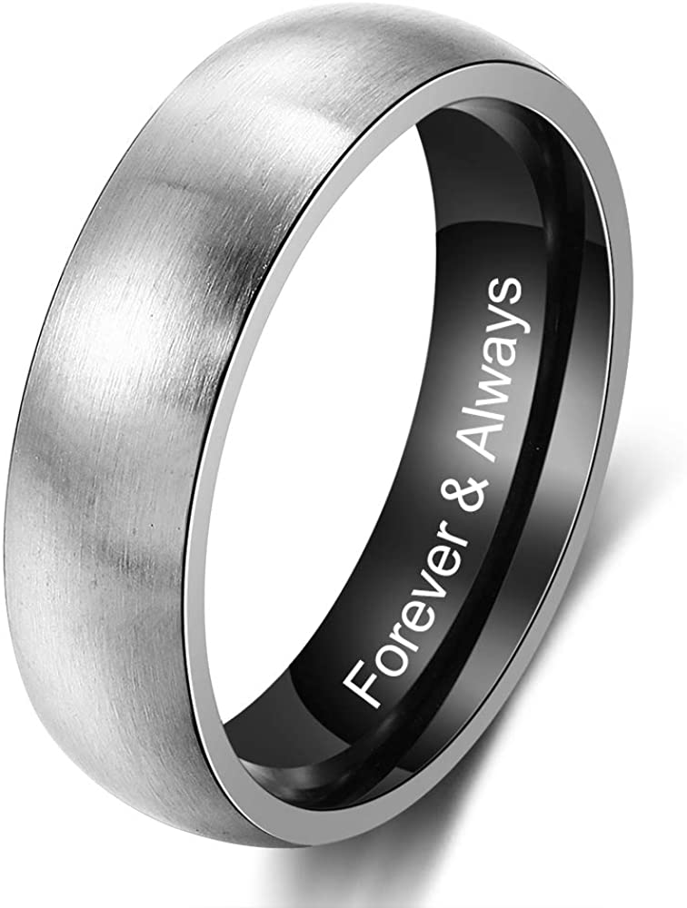 Customizable Boys Promise Ring Personalized Men/'s Custom Engraved Solid Titanium Two Tone Dome Band Ring Black /& Silver