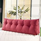 WOWMAX PP-Cotton Filled Wedge Pillow Positioning Support Triangular Reading Backrest Cushion Sofa Bed Day Bed Upholstered Headboard Removable Washable Cover Twin Linen Burgundy