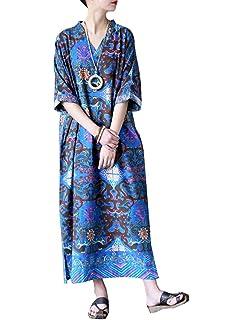 MatchLife Femme Longue Robe Ample Maxi Kimono Oversize Manches 2 4 Tunique  en Lin et 66ed8b333ac3