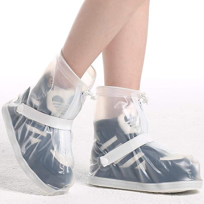 Zilee Surchaussures Imperm/éable Pluie Couvre-Chaussures Homme Femme Bottes Pluie Lavable PVC R/éutilisables Surchaussures /Équipement de Protection Ext/érieur Etanche