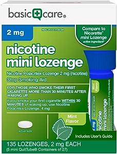 Amazon Basic Care Mini Nicotine Polacrilex Lozenge, 2 mg (nicotine), Stop Smoking Aid, White, Mint, 135 Count