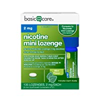 Amazon Basic Care Mini Nicotine Polacrilex Lozenge, 2 mg (nicotine), Stop Smoking Aid, Mint Flavor; quit smoking with mint nicotine lozenge, 135 Count