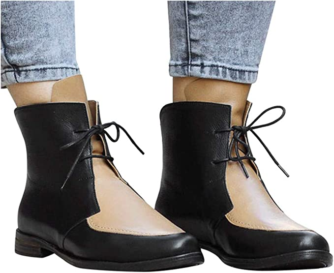 Kiyotoo Womens Ankle Boots Pointed Toe Leather Booties Back Zipper Chunky Stacked Mid Heels Lace Up Short Ankle Booties