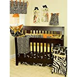 4 Piece Baby Girls Black White Orange Zebra Print Crib Bedding Set, Newborn Cheetah Nursery Bed Set, Infant Child Animal Themed Giraffe Spotted Pattern Safari Jungle African Coverlet Blanket, Cotton