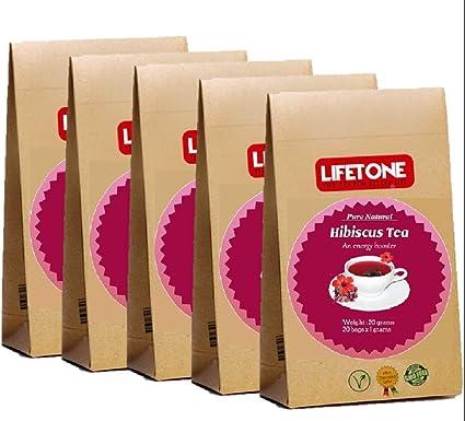 lifetone the tea for better life, Té de Hibisco TURE | Procedente de trópicos | Té antiestrés | Purificador sin cafeína | 100 bolsitas de té: Amazon.es: Alimentación y bebidas