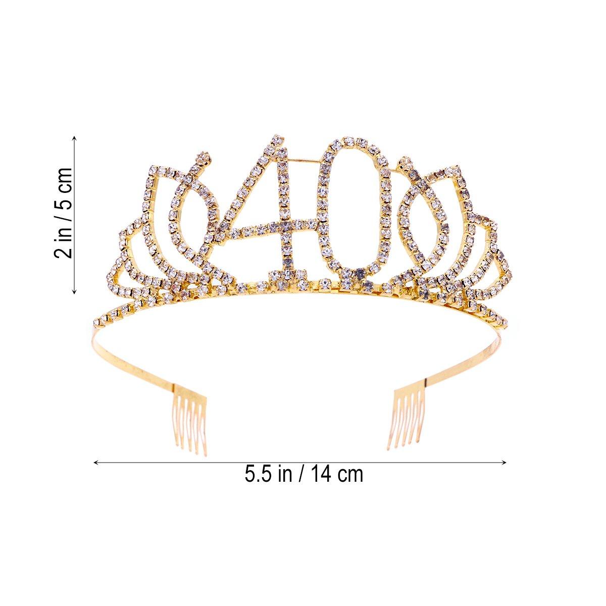 Or Frcolor Couronne Anniversaire 40 Ans Tiare Diadème Princesse avec Peigne Strass Cristal