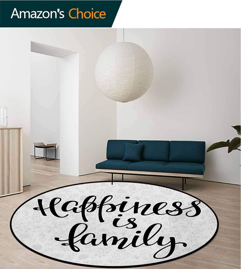 RUGSMAT Family Round Rug,Happiness is Family Hand Writing Inspirational Phrase Cute Simple Nature Backdrop Carpet Door Pad for Bedroom/Living Room/Balcony/Kitchen Mat,Diameter-71 Inch