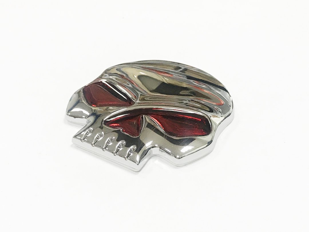 Pimall Red Eyes Skull Skeleton Silver Metal Sticker Vehicle-logo Badge Emblem