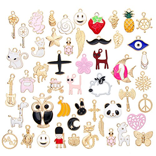 Assorted Enamel - Ownsig 50pcs Mixed Alloy Enamel Charms Pendants DIY for Jewelry Making and Crafting