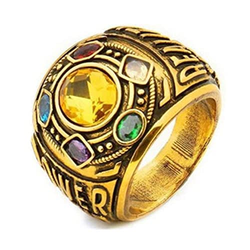 9832eae09a1f8 FlyStarJewelry 2018 Thanos Infinity Gauntlet Ring Power Avengers The  Infinity War Stones 7-12