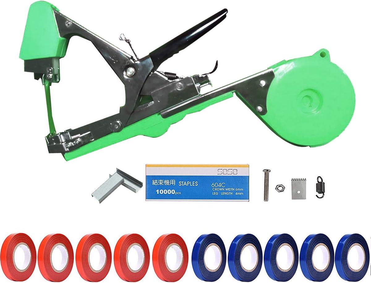 1 Box Staple for Plant Tying Machine Accessories Green 10 Rolls Plant Branch Tie Tape Garden Plant Hand Tying Machine