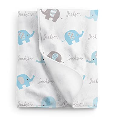 008b56b65 Image Unavailable. Image not available for. Color: Personalized Elephant  Fleece Baby Boys Blanket, Blue ...