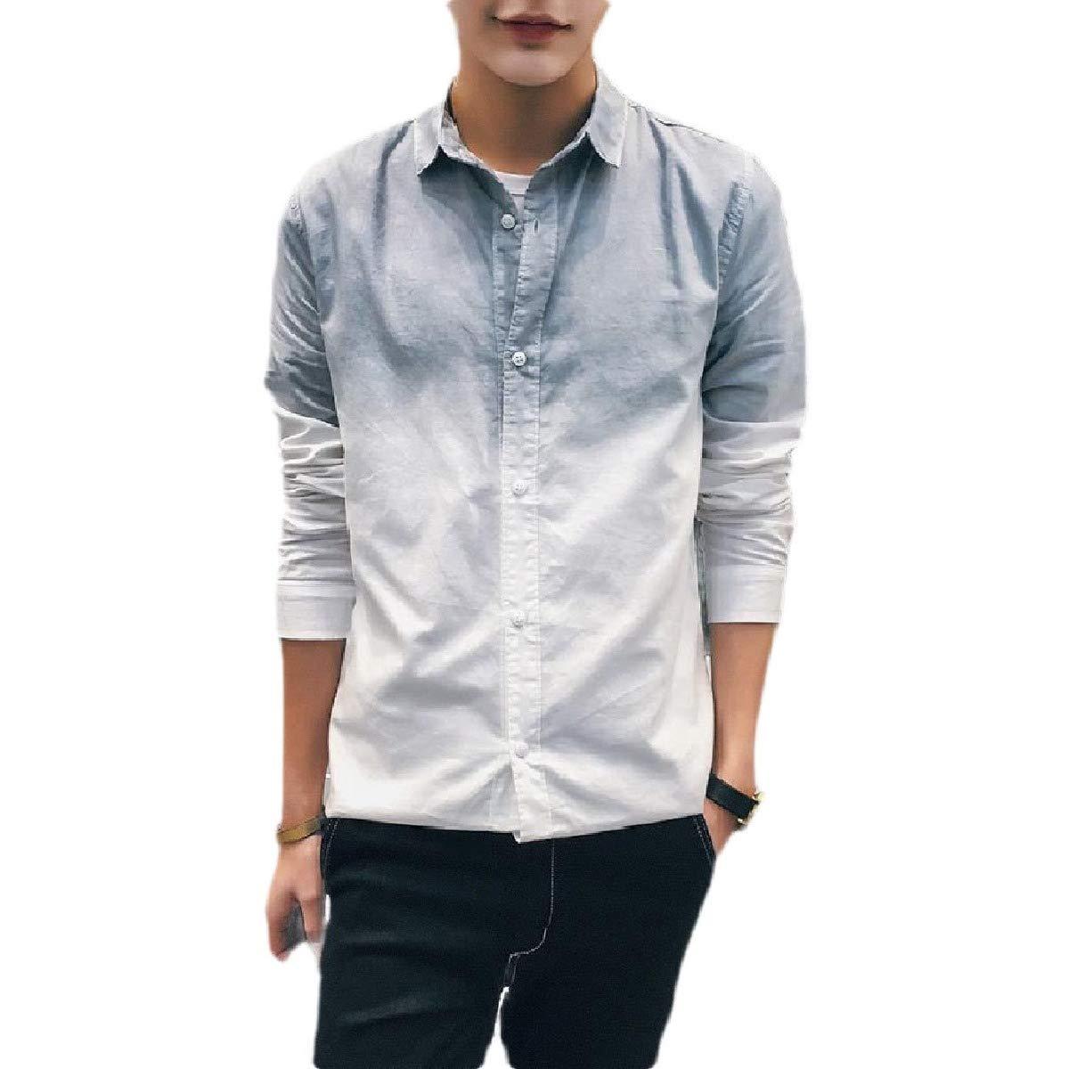 Sebaby Mens Button-Up Regular Fit Long-Sleeve Plus-Size Slim Fit Woven Shirt
