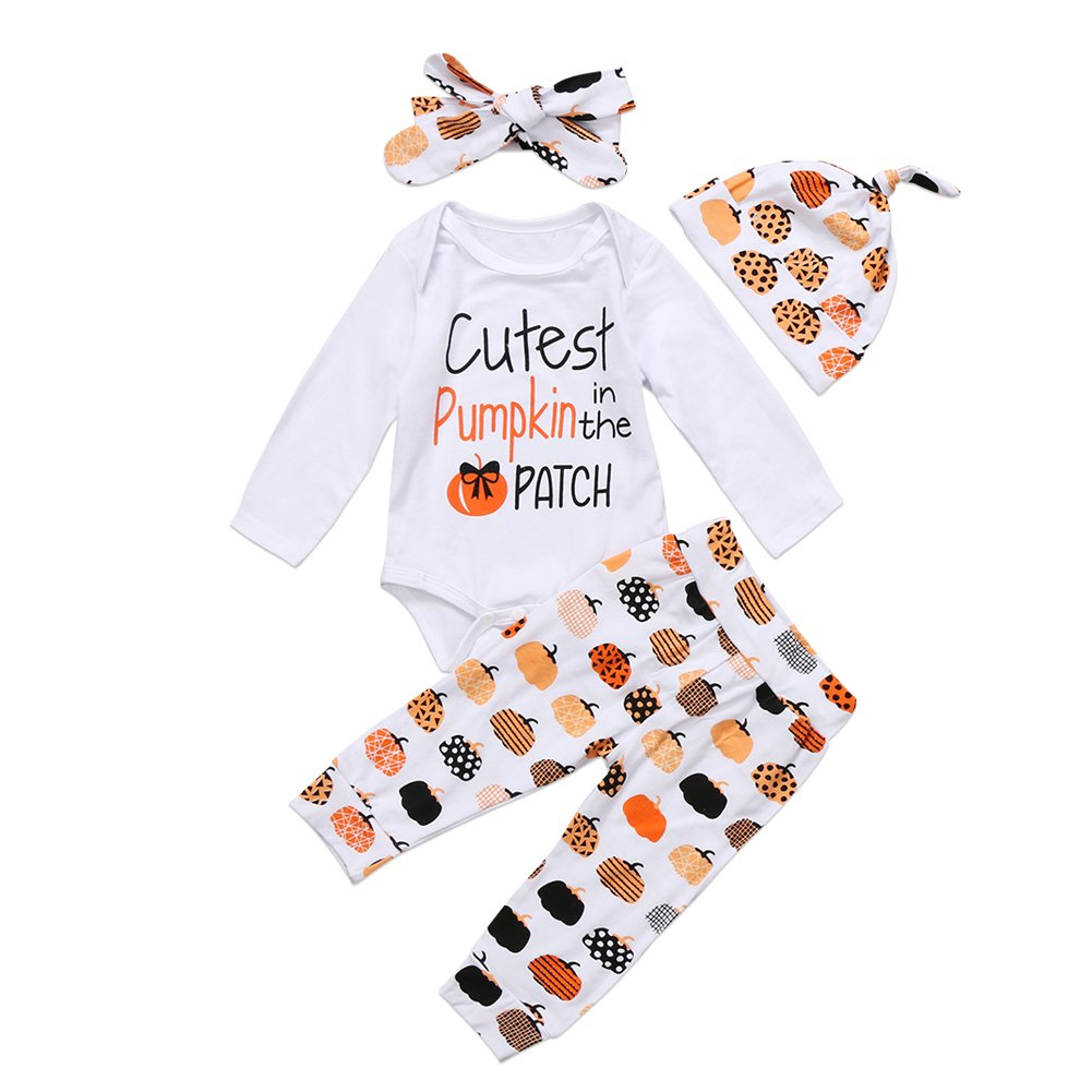 ac5996e7 Amazon.com: BiggerStore 3Pcs Cute Infant Baby Girl Boy Halloween Clothes  Pumpkin Romper with Hat and Long Pants Outfits Set: Clothing