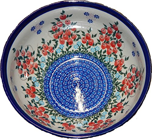 - Polish Pottery Ceramika Boleslawiec 0410/282 Royal Blue Patterns 5-1/4-Cup Bowl, Red Berries and Daisies