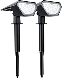 TRODEEM 12 LEDs Solar Landscape Spotlights Outdoor, IP67 Waterproof Solar Powered Wall Lights 2 in 1 Wireless Solar Landscape Lights Outdoor Yard Garden Driveway Porch Walkway Pool -2 Pack Cold White