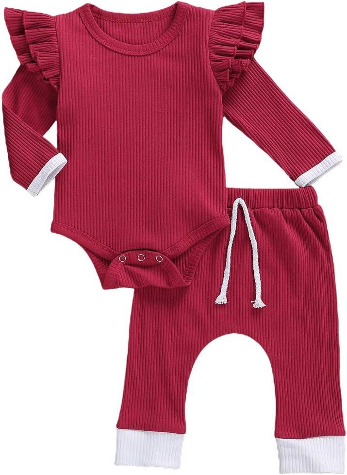 SAM PERKINS طفل حديث الولادة البنات ملابس الخريف الشتاء ملابس الأطفال الصغار الكشكشة تي شيرت + سراويل 2 قطعة ملابس