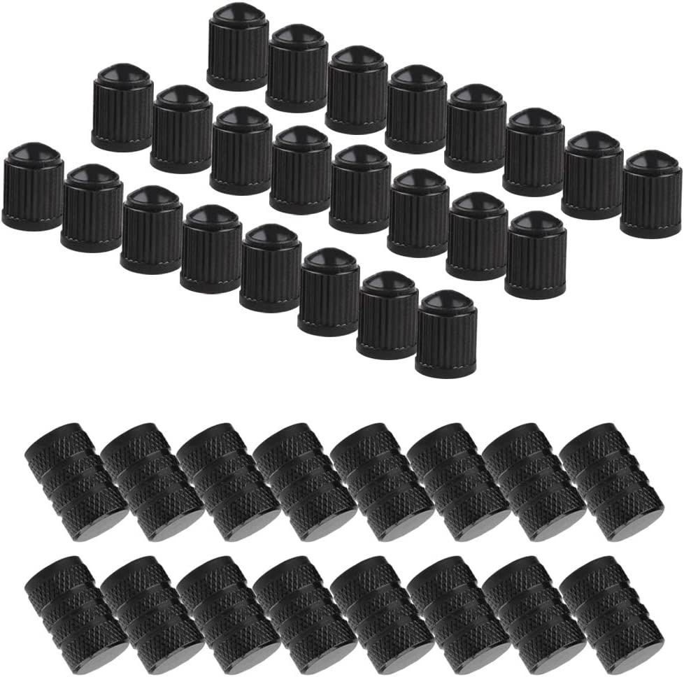16 Pack Tire Valve Caps,YuCool Universal Stem Covers Light-Weight Aluminum Alloy with 24 Pack Plastic Caps Airtight Seal Screw-On Easy-Grip Use for Cars,SUVs,Bikes,Trucks,Motorcycles-Black
