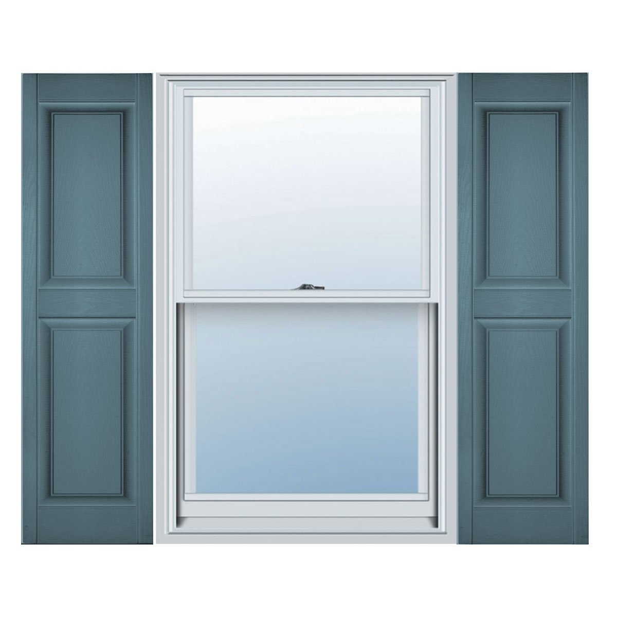 Builders Edge 15 in. Vinyl Raised Panel Shutters in Wedgewood Blue - Set of 2 (14.75 in. W x 1 in. D x 54.8125 in. H (7.3 lbs.))