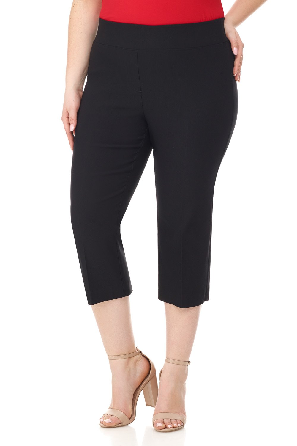 Rekucci Curvy Woman Plus Size Classic Wide Waist Flattering Fit Capri (20W,Black) by Rekucci