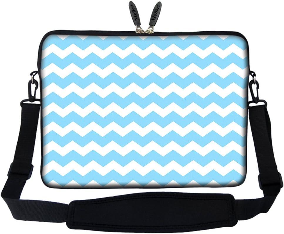 Meffort Inc 15 15.6 inch Neoprene Laptop Sleeve Bag Carrying Case with Hidden Handle and Adjustable Shoulder Strap - Light Blue Chevron Pattern