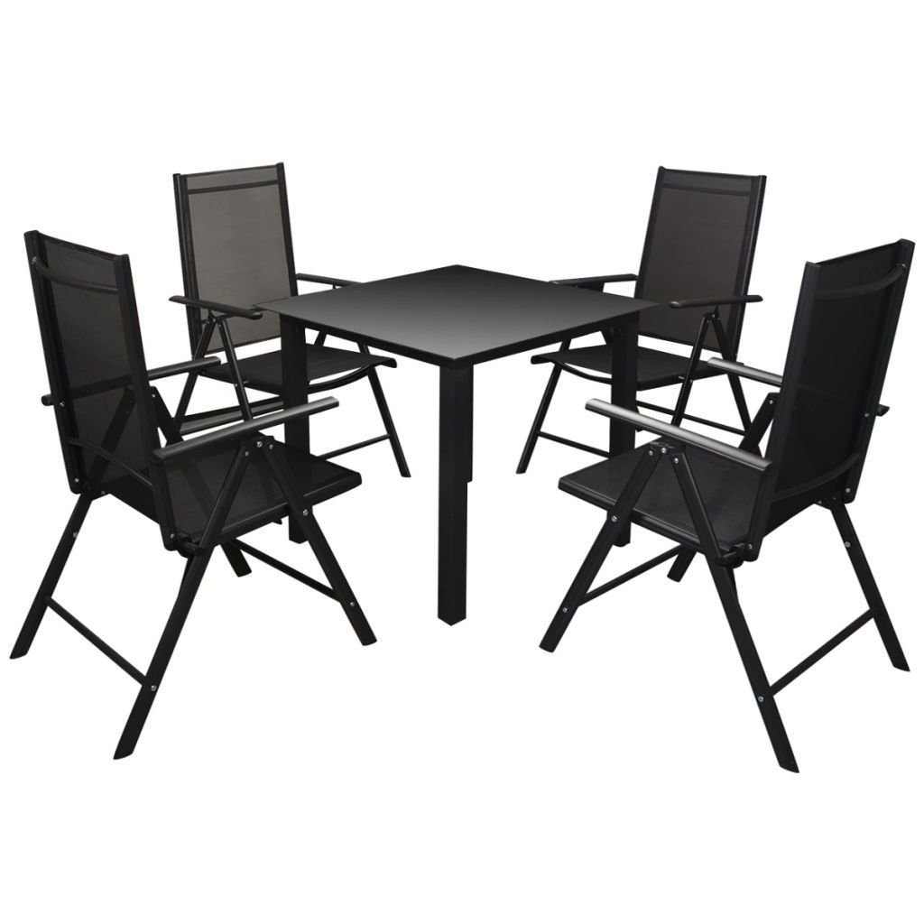Amazon com outdoor patio dining set 4 aluminum frame textilene chairs and 1 aluminum frame dining table w polywood wpc top garden patio furniture