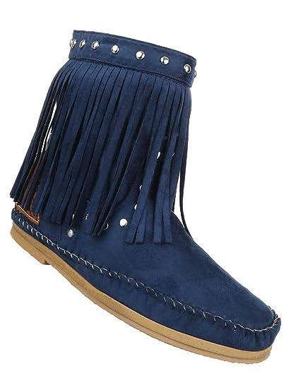Damen Stiefeletten Schuhe Boots Designer Schlüpfstiefel mit Fransen und Nieten Blau 35 bZQCm2cS