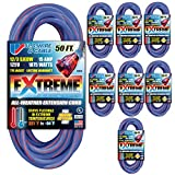 U.S. Wire 50-Foot Blue Cold Weather Extension Cord with Lighted Plug (8-Pack)