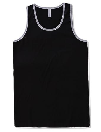 e7787271dcff8 JD Apparel Men s Basic Athletic Jersey Tank Top Contrast Binding S Black  Grey