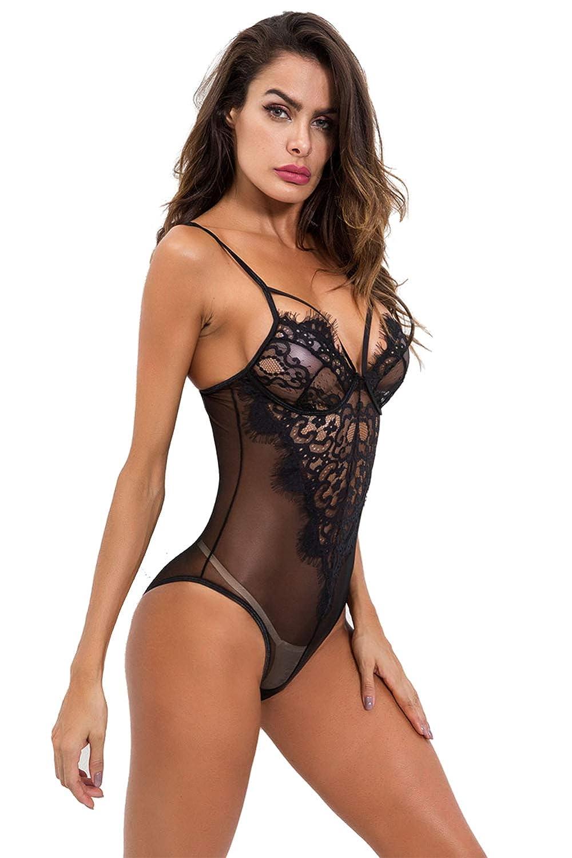 ba6fe2ba3d286 Aranmei Sexy Body Dessous Damen Reizwäsche Bodysuit Spitze Strappy  Unterwäsche Negligee Rückenfrei Lingerie
