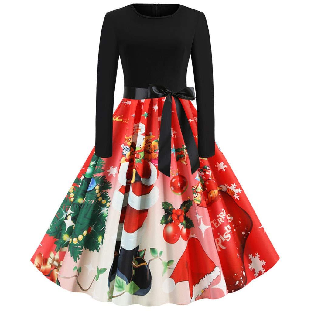 BIKETAFUWY Weihnachtskleid Damen Rockabilly Weihnachtsdeko Cocktailkleid Lange /Ärmel Kleider Vintage Kleidung Weihnachtsmann Elch Schlitten Druchen Party Swing Festlich Kleid
