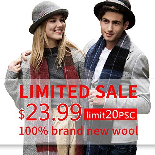 Erigaray 100% Wool Mens Scarf Plaid Winter Warm Fashion knit Scarfs For Men by Erigaray (Image #2)