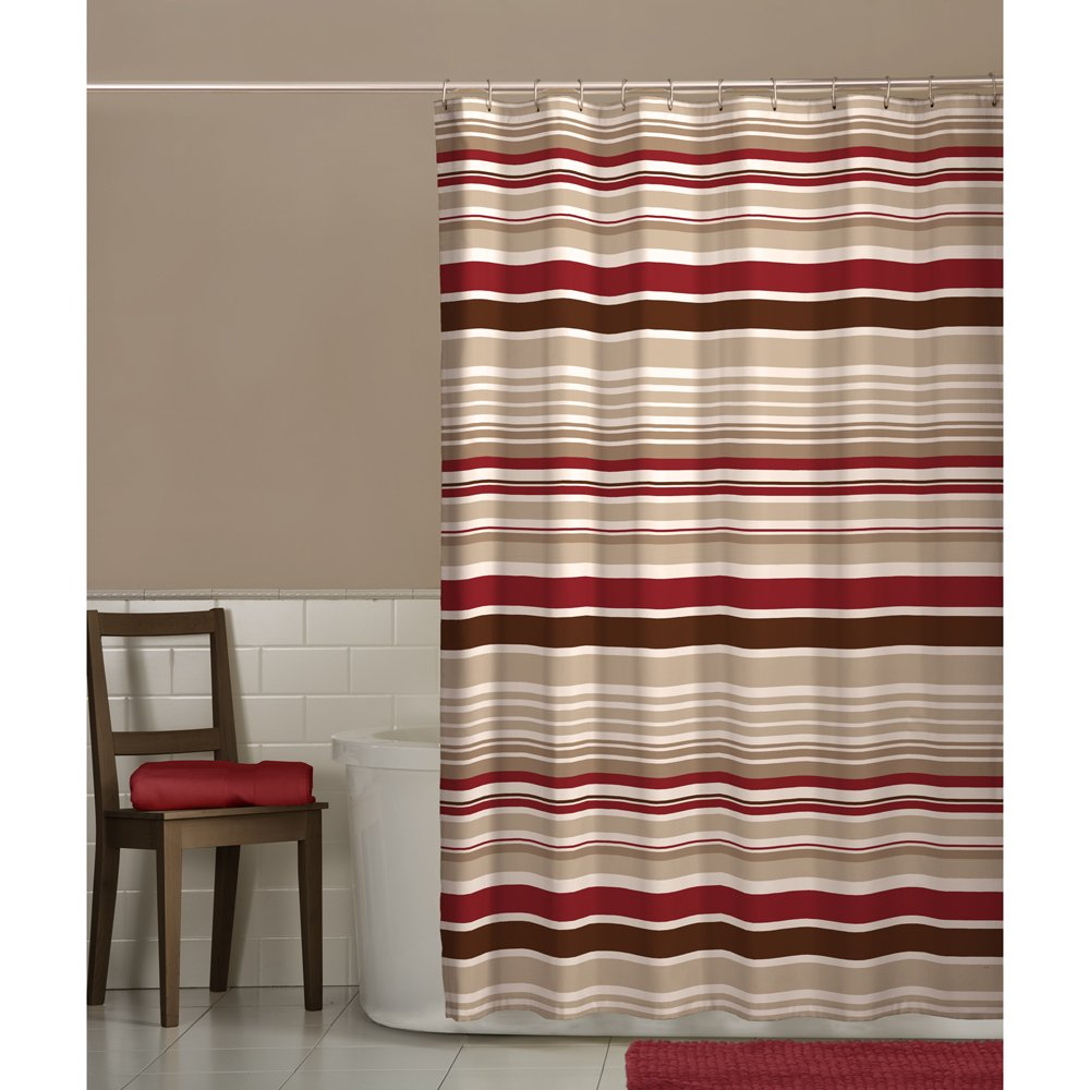 tan striped shower curtain.  Amazon com Maytex Meridian Shower Curtain Home Kitchen