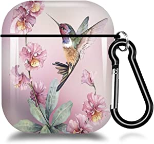 Hynina AirPods Case Cover,Suitable for AirPods 2 & 1 with Keychain, Full Protective AirPods Accessories Skin Cover for Women Girl with AirPods Wireless Charging Case-Beautiful Hummingbird Drawing