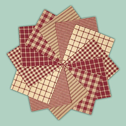 40 Rustic Red Charm Pack, 5 inch Precut Cotton Homespun Fabric Squares by JCS