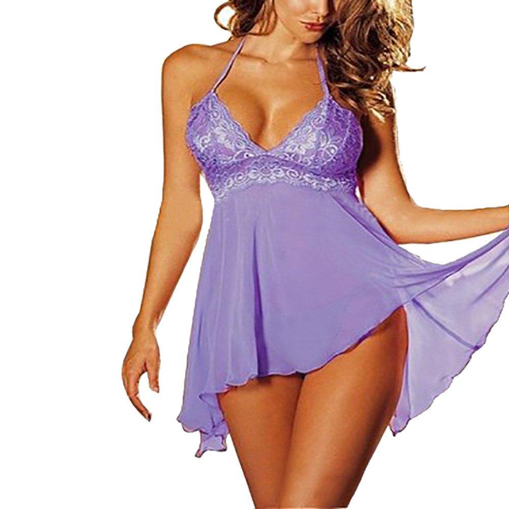 Sunyastor Women Lingerie Lace Babydoll Mini Deep V Outfits Halter Teddy Dress Underwear Temptation Plus Size Nightwear Purple