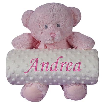 Manta bebé personalizada para coche y minicuna + Osito de peluche rosa