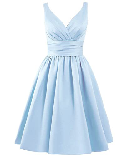 Women's V-neck Ruched Waist Short Bridesmaid Prom Dresses Party Gowns 2017