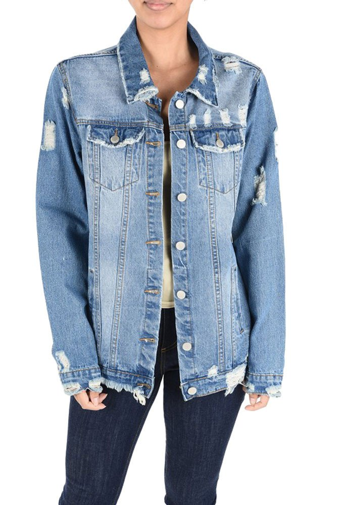G-Style USA Women's Slashed Back Destroyed Denim Jacket RJK703 - BLUE - Large - H15B