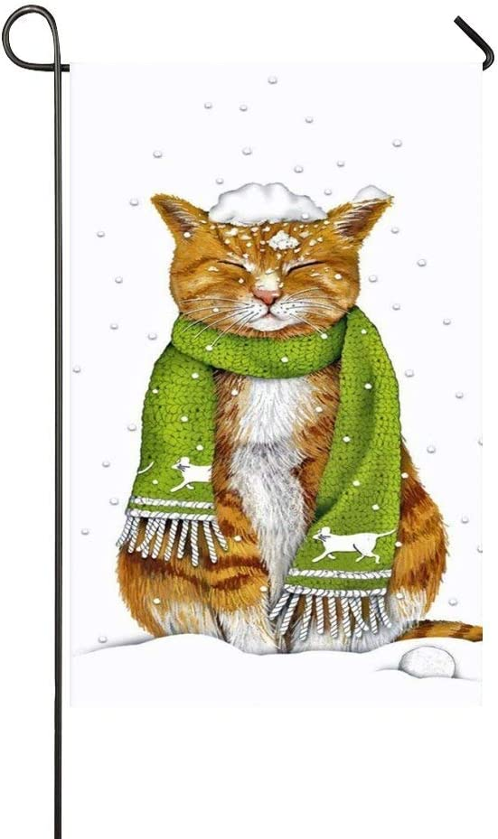 Mark Reynolds Orange Cat with Green Scarf Squint Eyes in The Snowing Day Garden Flag Holiday Decoration Double Sided Flag 12.5
