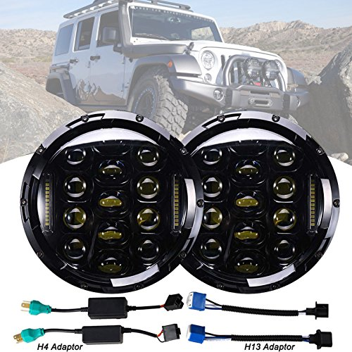 Pair 7 Inch Round LED Headlight Replacement DRL Hi/Lo Beam H4 H13 75W Conversion Kit for Jeep Wrangler JK LJ Replace H5024 6012 6014 6015 H6017 H6024