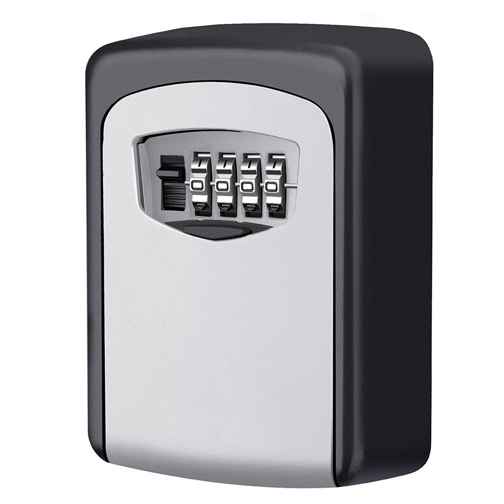 MDROKUN Key Storage Lock Box 4-Digit Combination Wall Mounted Key Safe Box Wall Mounted Lockbox
