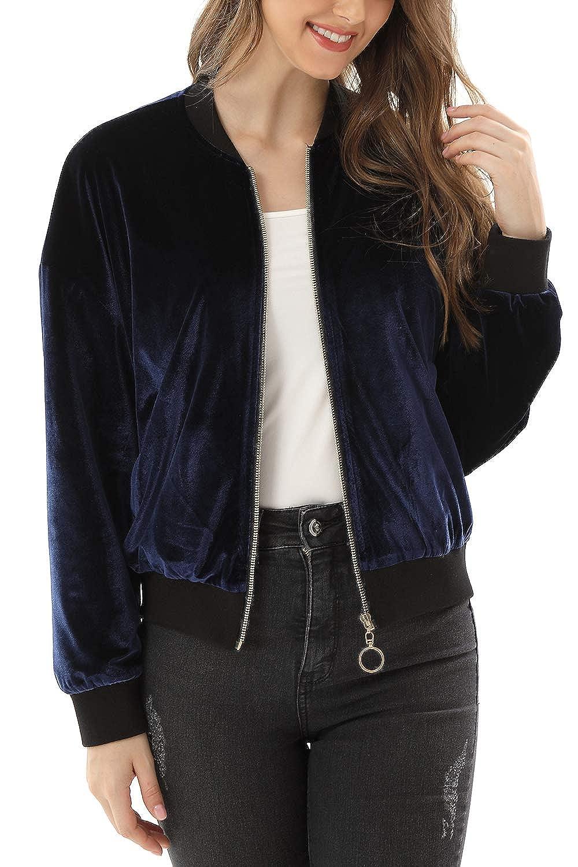 MYIFU Women/'s Classic Solid Quilted Jacket Zip up Short Bomber Jacket Coat