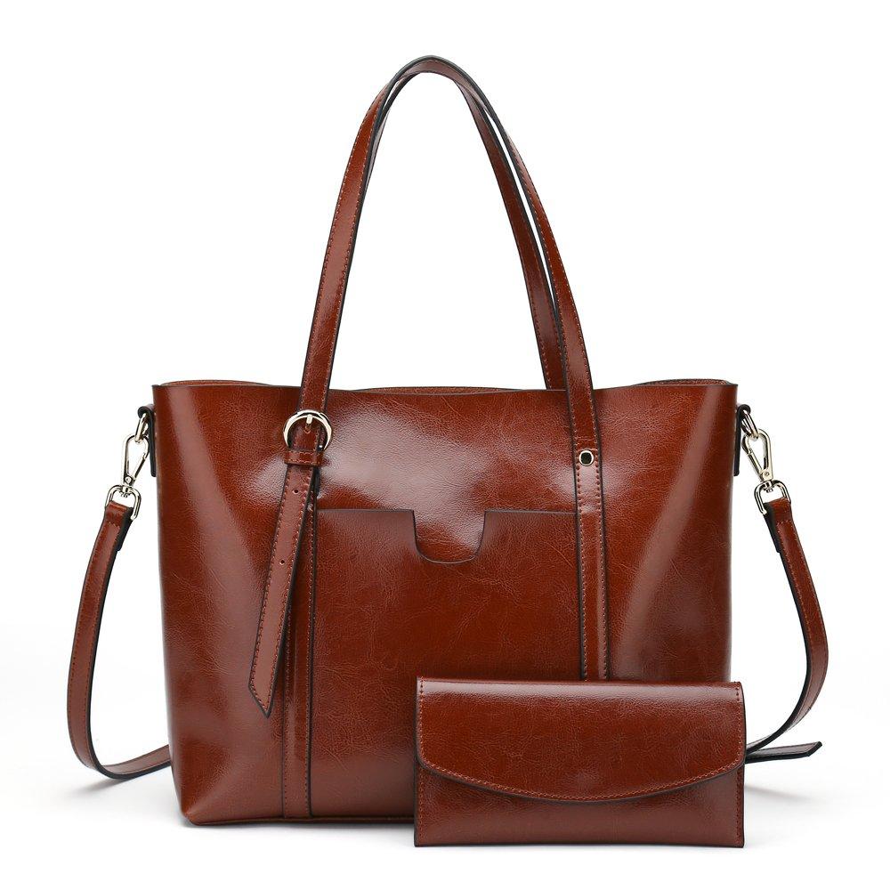Women's Handbag Genuine Leather Tote Shoulder Bags Wallet and Handbag 2 Piece Set Genuine Bag (Dark Brown)