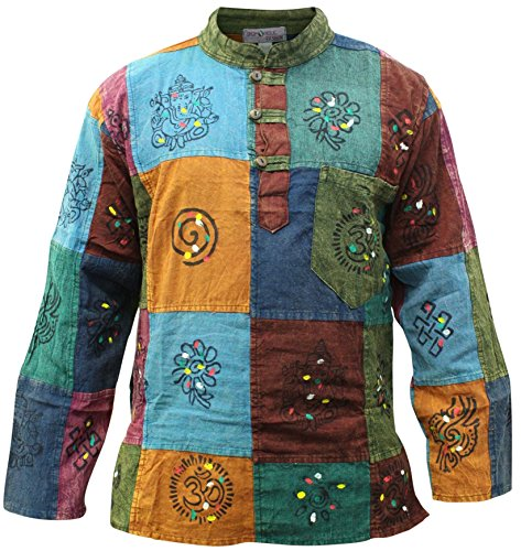 SHOPOHOLIC FASHION Mens Patchwork Hippie Shirt (Stripy Patch,2XL)