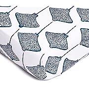 Lewis Organic Cotton Fitted Crib Sheet Stingray Print 100% GOTS Certified Organic Cotton Percale, Denim