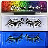 "Elegant Lashes G201 ""Beetlejuice"" Glow in the Dark Jumbo Drag Queen Black & White Costume False Eyelashes for Halloween Dance Rave"