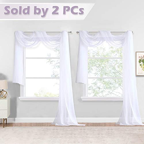 NICETOWN White Sheer Window Scarfs 216 inch Extra Long, Soft Voile Textured Bed Canopy Scarf Curtains for Event Designs Home Decor, 60 inches Wide, Set of 2