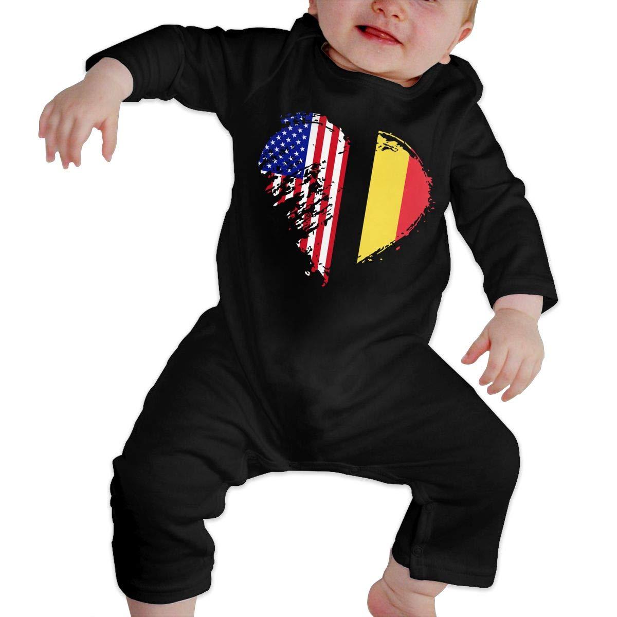 Mri-le1 Newborn Baby Organic Coverall Grungy Belgium American Flag Heart Kid Pajamas